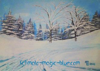 MaLo 2018 * Wintertag * Original Acrylbild auf Papier im blauen Holzrahmen 40 x 30 cm, verkauft