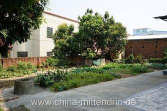 Ein Garten in einem Dorf am Rande von Xiamen (Fujian). Der Hausbesitzer sagte mir: Das Wasser in dem Brunnen darf man auf gar keinen Fall trinken. Wir nehmen es auch nicht zum Gießen des Gemüses. Es ist seit vielen Jahren ungenießbar. Giftig.