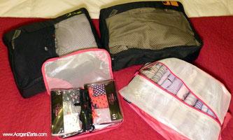 Guarda la ropa en cuadrantes dentro d ela maleta - www.AorganiZarte.com