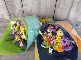 目黒区鷹番にお届けした送別用の花束。男性用なので少し落ち着いたイメージで。当日の配送も可能です。