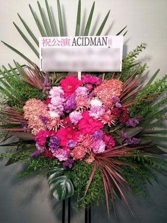 LINECUBESHIBUYAにお届けしたスタンド花。格好良く作成。
