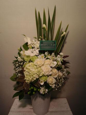 アレンジメント 恵比寿EcoDeco 白・グリーン系 スタイリッシュ 周年祝いパーティ