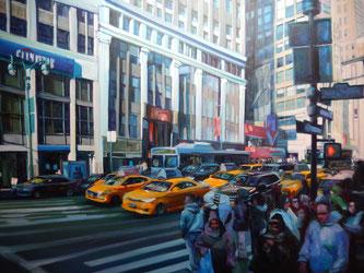 """""""Passage piétons""""- acrylique sur toile- dec 2014- (92x65 cm)"""