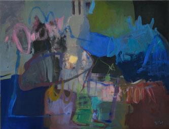 """Légende: """"Désordre fécond""""- acrylique sur toile- (116x89 cm)"""