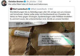 Christian Drosten und Karl Lauterbach erhalten Morddrohungen (Bild: Twitter Christian Drosten / Karl Lauterbach)