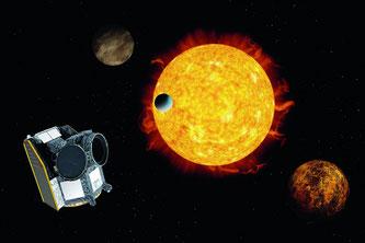 Künstlerische Darstellung des Weltraumteleskops CHEOPS. © ESA/ATG medialab