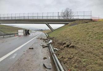 Embardée d'un véhicule de livraison sur l'A12 à Marsens © Tous droits réservés