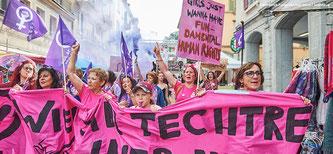 Frauenstreik 2019 - Demo in Sion. Foto: © Frauenstreik-Fotografin Anja Wurm / freshfocus