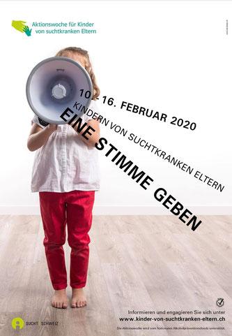 Plakat zur Aktionswoche für Kinder von suchtkranken Eltern (Bildquelle: Sucht Schweiz)