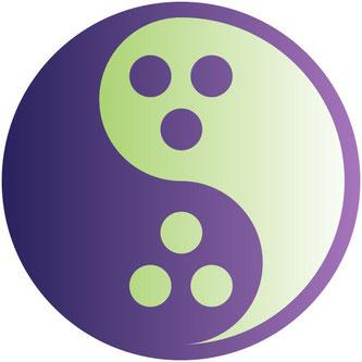 Logo/Symbol für den Dudeismus (yin-yang mit den Löchern der Bowlingkugel) • Bildquelle: Wikipedia / Delbertpeach / CC0 Public domain