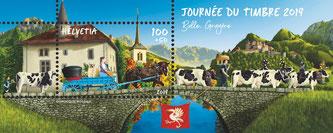 Sonderblock Journée du timbre 2019 zum Tag der Briefmarke von Dominique Rossier  Bildquelle: post.ch
