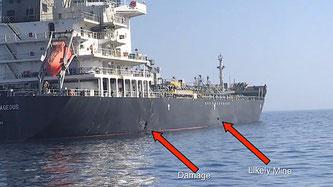 """Bild des US-Militärs, das einen Schaden und eine mögliche Mine an der Bordwand der """"Kokuka Courageous"""" zeigen soll"""