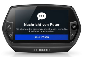 Mit dem Bosch Nyon Smartphone Nachrichten auf dem Display anzeigen lassen