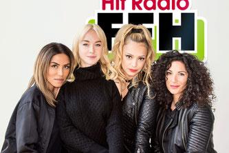 (v.l.) Sabrina Setlur, Janina Russ, Radost Bokel und Evren Gezer im FFH-Funkhaus in Bad Vilbel (bei Frankfurt/Main). Foto: HIT RADIO FFH