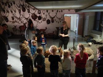 Die Kinder des Naturkindergartens während der Führung durch das Naturhistorische Museum Mainz. Foto: Stadt Oppenheim
