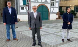 Landtagskandidat Roland Zitzmann, OB Michael Makurath, Zweitkandidat für den Landtag Patrick Maier