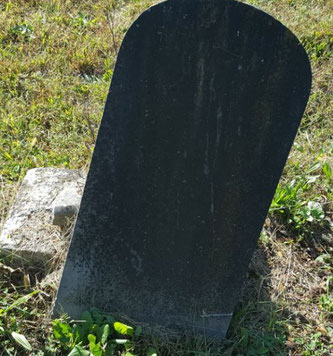 Weathering obliterates the inscription on this stone near the monument for Mary Gossom. Corn Creek Baptist Church Cemetery. Photo courtesy of Tina Mitchell Boutall for the Trimble County Historical Society of Kentucky. 14 Oct 2017.