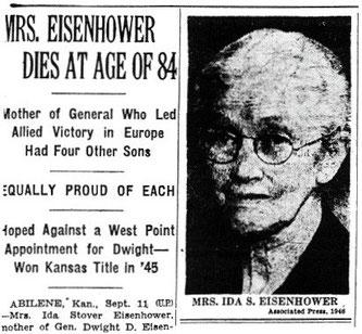Сообщение о смерти Иды Эйзенхауэр