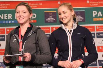 Die Sächsin Marlene Franz, rechts, gewann in diesem Jahr das Finale im  Eggersmann Cup. Es gratulierte herzlich Friederike Eggersmann. Foto: bb