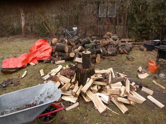 Lieblingsbeschäftigung für warme Füße: Holzhacken! Aber Buchenholz spaltet sich fast von alleine (fast)