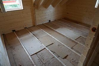 Da ist der Fußbodenunterbau nun fertig. Da wir keinen Estrich haben wollen und auch nicht brauchen, sieht das vielleicht etwas abenteuerlich aus, doch erfüllt es am Ende den gleichen Zweck. Hoffentlich. ;)
