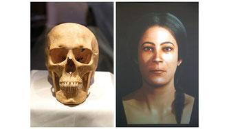 Una reconstrucción virtual en 3D de la cara de una mujer basada en uno de los cráneos prehistóricos encontrados en el círculo de piedra en Xaghra Gozo-Malta. Fotos: Darrin Zammit Lupi  ....Mujeres hacen historia
