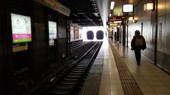 トンネンルの向こうは渋谷駅方面