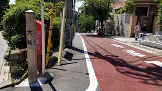 大坂緑地は玉川通りから山手通りへ下る段丘崖にある。