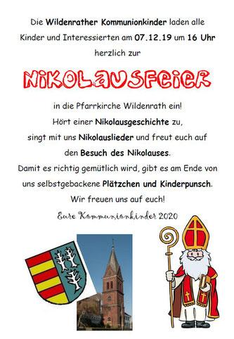 Nikolausfeier Kommunionkinder Wildenrath