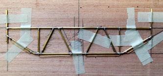 Ein Teil der Gittermastkonstruktion im Rohbau