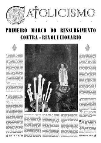Revista de cultura «Catolicismo» para la cual el Dr. Plinio Corrêa de Oliveira escribió el artículo «Primer marco del resurgimiento contra-revolucionario»