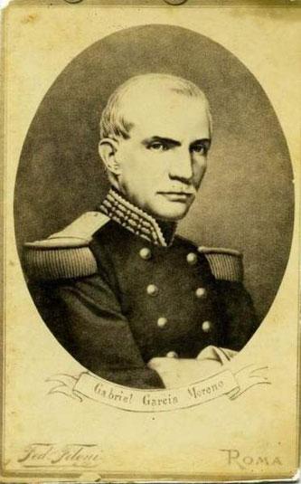 Estampa mandada a hacer por Pío IX en conmemoración del martirio de don Gabriel García Moreno.