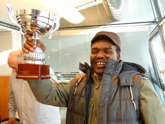 Nelson Burrell received the Spirit of Cricket award on behalf of Uprising CC in 2013