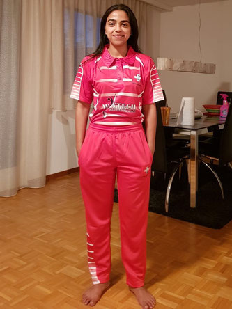 Veena Mampilly sporting Cricket Switzerland's new Women's International Kit