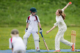 Boys & girls at all age groups competing at the Junior Cricket Festival in Zuoz, Switzerland