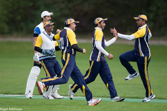 Players from Zurich Nomads Cricket Club celebrating victory at the 2016 CSPL Final in Geneva
