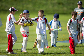 Young Swiss cricketers from Basel after a match versus Zurich at the Zuoz Junior Cricket Festival
