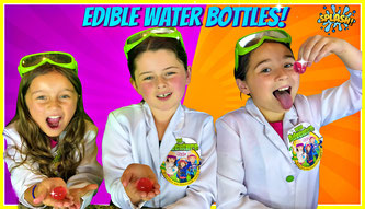 Kids science experiment, edible water bottle