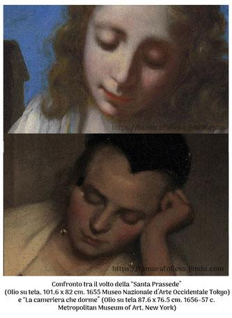 Confronto volti_L'Ultimo Vermeer_La Santa Prassede_Appunti d'Arte di Tamara Follesa