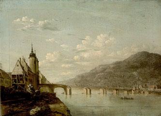 Ferdinand Kobell: Alte Brücke in Heidelberg (1789)