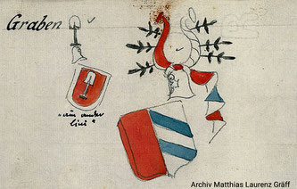 Coat of arms Von Graben, both variantes; originally from an italian archiv, collection Matthias Laurenz Gräff (Austria)
