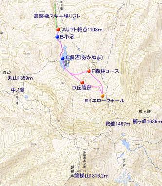 裏磐梯スノーシュー地図