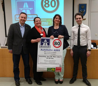 v.l.: Dr. Volker Leib (Grünen Tfk.), Karin Radl (SPD Uhg.), Claudia Köhler (Grüne Uhg.), Matteo Dolce (SPD Tfk.)
