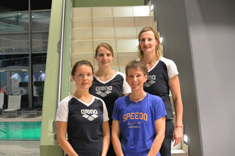 Hinten: Neue Abteilungsleiterin Darina Smetaczko (links) , Technische Leiterin Ingrid Erhart (rechts) Unten: Stellvertretende Abteilungsleiterin Sophia Maier (links) , Ehemalige Abteilungsleiterin Bärbel Schwarz (rechts)