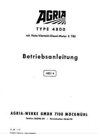 Agria Typ 4800 mit Hatz Dieselmotor E785 Betriebsanleitung