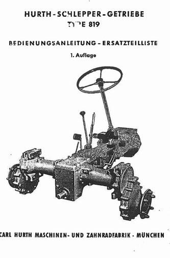 Hurth G819 - Bedienungsanleitung, Ersatzteilliste 1. Auflage