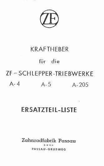 Kraftheber / Hydraulik ZF A4, ZF A5, ZF A205 - Ersatzteilliste