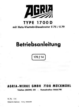 Agria Typ 1700D mit Hatz Dieselmotor E75 / E79 Betriebsanleitung