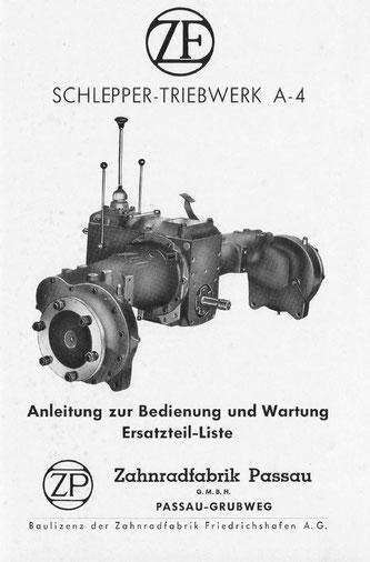 Getriebe ZF A4 - Anleitung zur Bedienung und Wartung, Ersatzteilliste