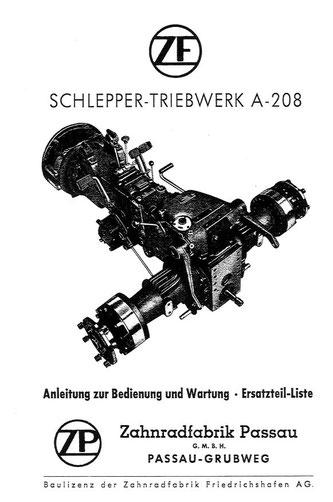 Getriebe ZFA208 - Anleitung zur Bedeinung und Wartung, Ersatzteiliste